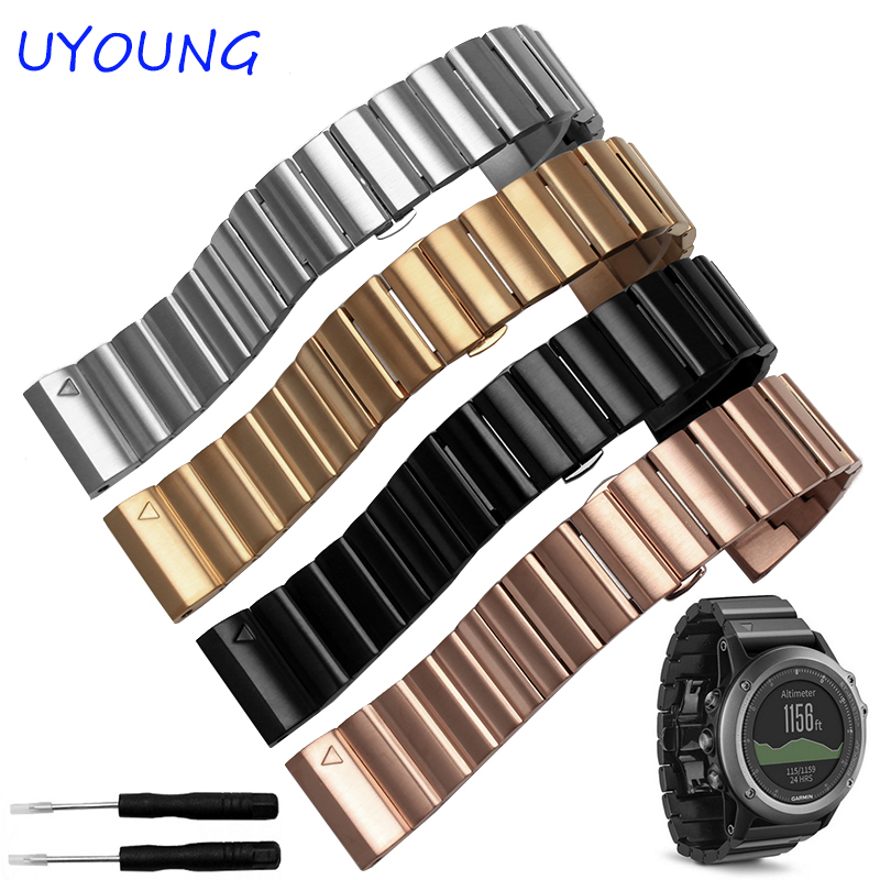 Quality Solid Stainless Steel Watchband 26mm For Sports Smart Watch For Garmin Fenix 3/HR for garmin fenix chronos solid stainless steel watchband 22mm black gold metal band replacement smart watch bracelet