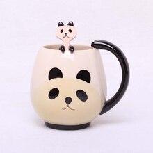 Main-peint Café Tasse, Belle Panda/Grenouille/Chat/Cochon En Céramique Tasse Tasse De Thé comprennent cuillère à café
