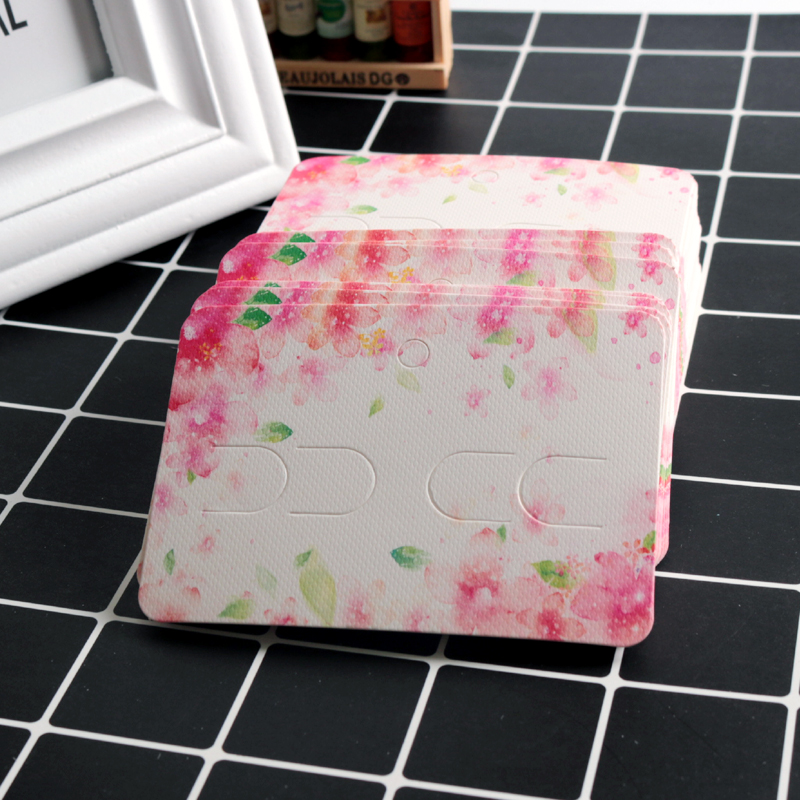 Wholesale 100pcs/lot 7x10cm Pink Flower Paper Cards Jewelry Headwear Card Nice Hair Clips Brooch Display Packaging Cards