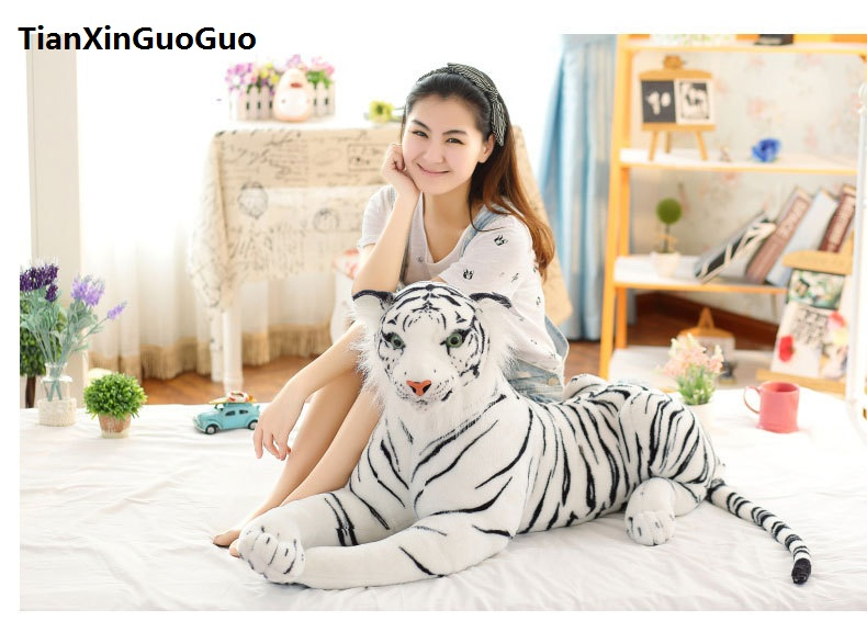 artificial white tiger plush toy large 105cm cartoon tiger doll throw pillow birthday gift h0719 large 90cm cartoon pink prone pig plush toy very soft doll throw pillow birthday gift b2097