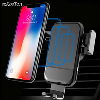 Car Wireless Charger For IPhone XS Max X XR 8 Fast Wireless Charging Car Phone Holder Stand For Samsung S10 Mobile Phone Bracket