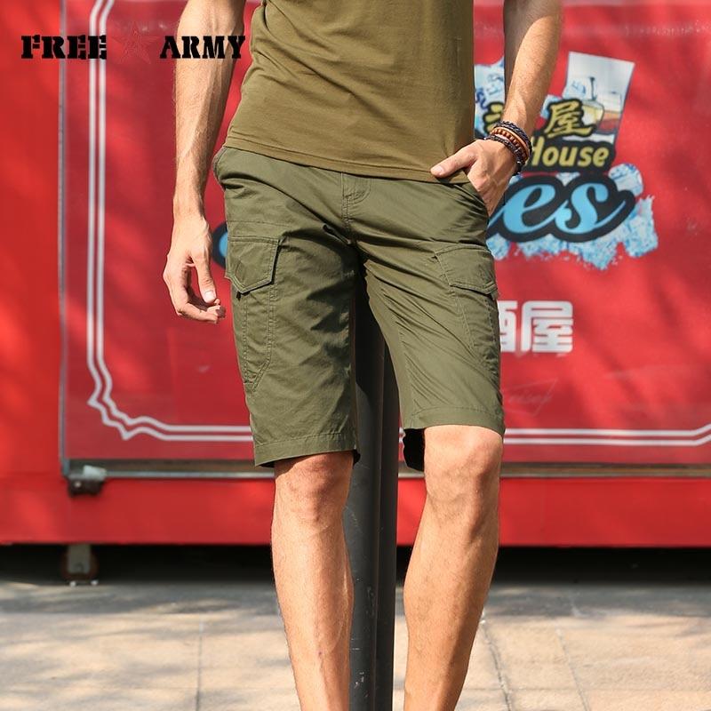 Cargo Shorts Men army green Summer Cotton Casual Men Short Pants Mens Clothing Loose Fashion Men Cargo Shorts Brand MK-7191A
