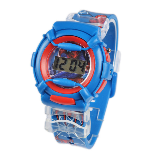 Cool spider man pattern silicone belt children fashion cartoon digital watches kid casual watch for Spiderman watches