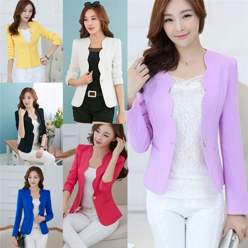 Fashion New Spring Autumn Women Blazers Jackets Suit Single Button Female Girls Blazer Femme