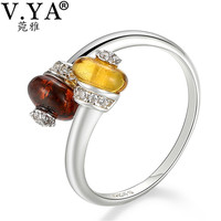 V YA Real 925 Sterling Silver Natural Amber Rings For Women Adjustable Nature Stone Solid Silver
