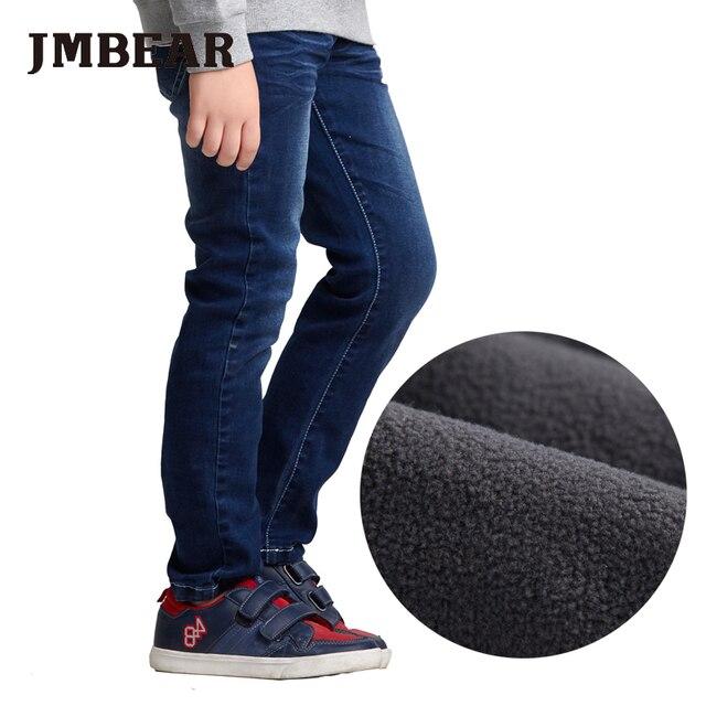 JMBEAR мальчиков флисовой подкладке жан эластичный пояс зима дети утолщение джинсовые брюки 2016 мода брюк для детей 5-14years