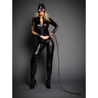 Free Shipping Sexy Women Exotic Lingerie Faux Leather Latex Black Low Cut Long Sleeve Wet Look Masked Catsuit DS Clubwear Teddy