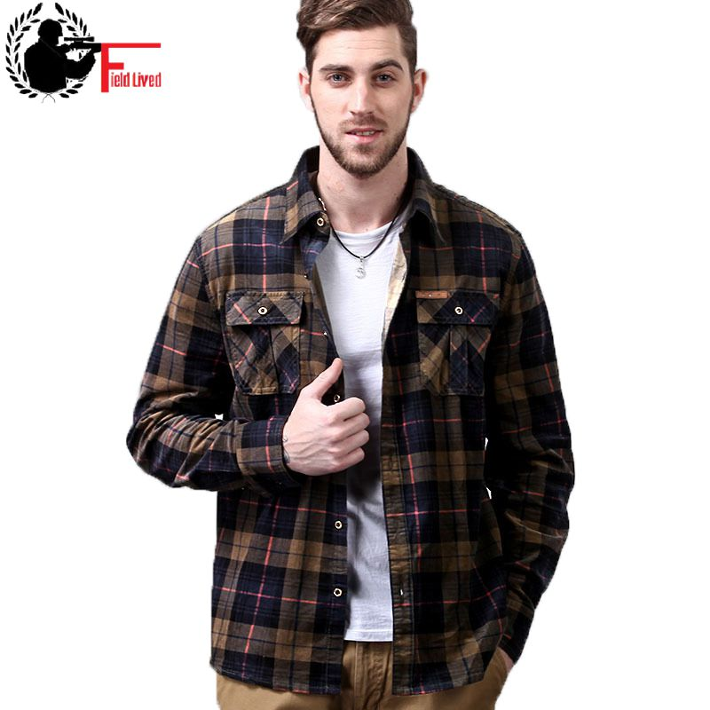 Military Style Men Shirt Fashion Army Long Sleeve Corduroy Male Shirt British Plaid Flannel Cotton High Quality Clothing Top Men