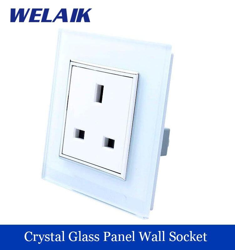 WELAIK  Freeshipping Crystal Glass Panel 1Frame EU White Black British standard power Wall Socket A18UW/B  цены