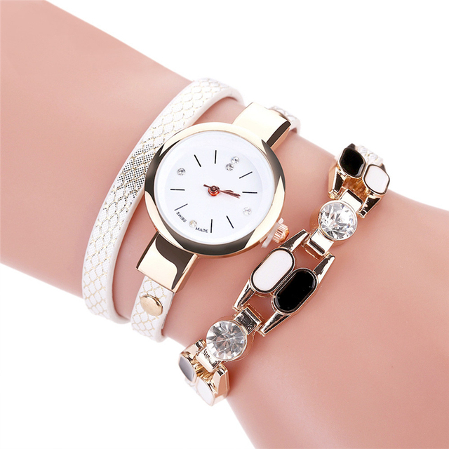 Duoya Brand Women Quartz Wristwatch Fashion Ladies Dress Leather Band Women Brac