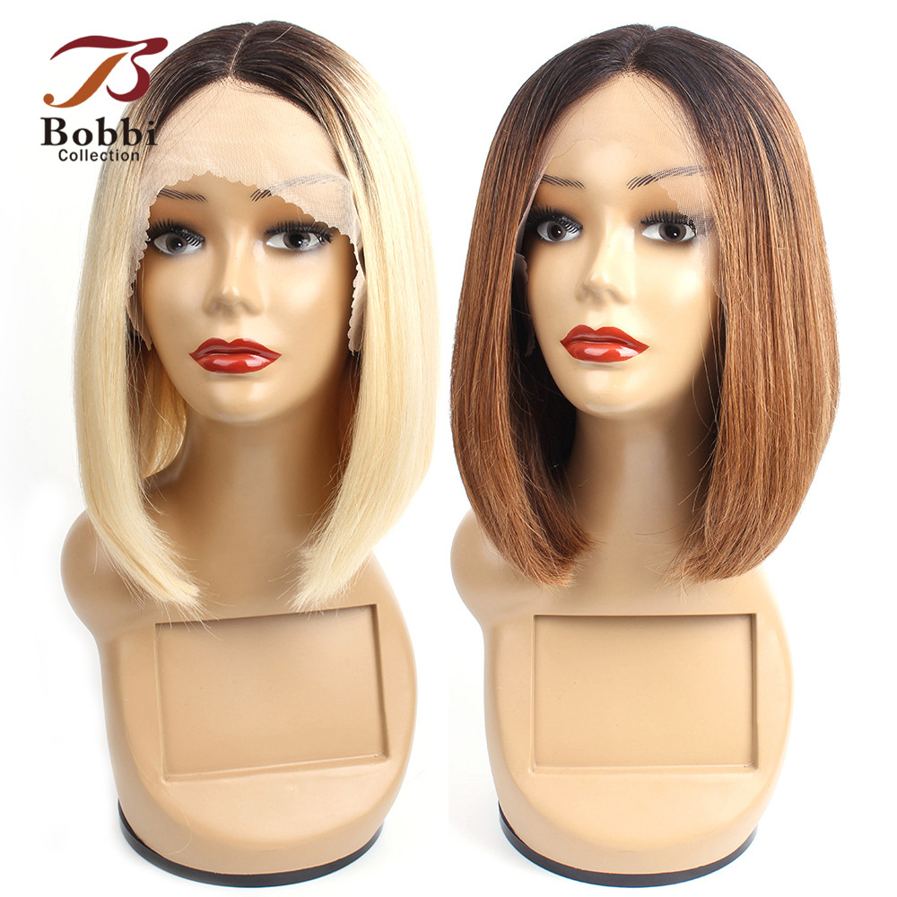 Bobbi Collection 1B 613 Blonde T Part Lace Front Human Hair Wigs Ombre 1B 30 Short Bob Wig Indian Straight Remy Hair Middle Part