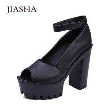 Обувь женские сандалии 2017 модные однотонные пикантные из PU искусственной кожи с открытым носком на высоком каблуке и платформе летняя обувь сандалии женская обувь