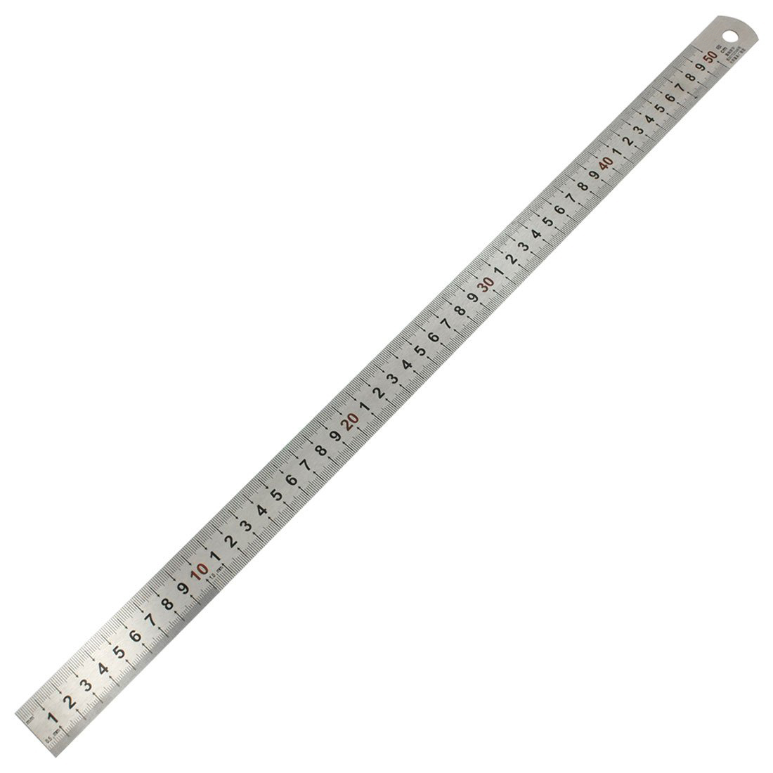 5X Double Side Scale Stainless Steel Straight Ruler Measuring Tool 50cm