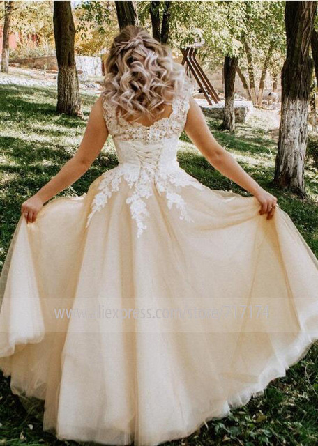 V-neck Lace Applique Cap Sleeve Long Elegant A-line Wedding Dress with Lace-up Pearls Champagne Bridal Dress vestido de novia 6