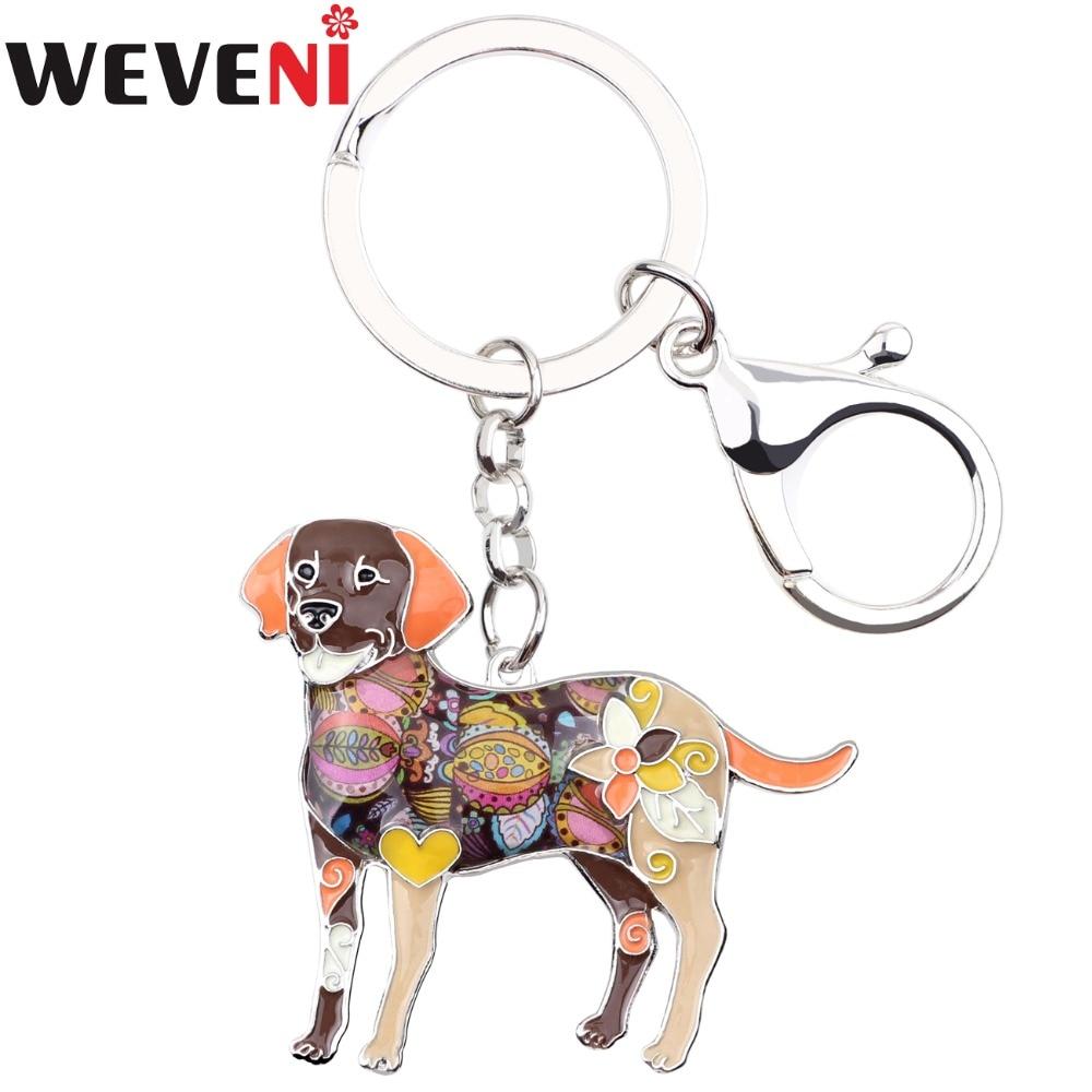 WEVENI Metal Labrador Dog Key Chain Key Ring Bag Charm Man Car Key Holder New Enamel Keychain Jewelry Accessories For Women