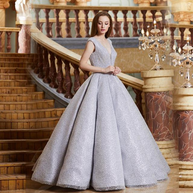 Finove イブニングドレス 2020 ロングスパークル材料セクシーな V ネックバックレスの夜会服フォーマルパーティー反射ドレスローブ · ド · 夜会