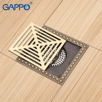 GAPPO Drains Shower Floor Drains Square Shower Floor Cover Antique Brass Chrome Plugs Bathroom Drain Stopper