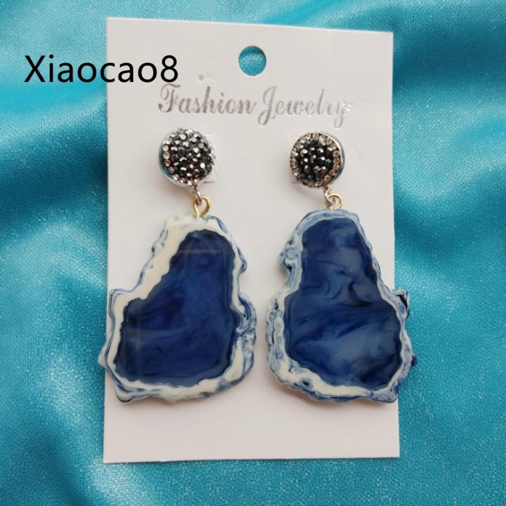 Women Big Geometric Earrings Elegant Blue Green Resin Bohemian Summer Earrings WomensTrendy Fashion Jewelry Earring Pendants in Drop Earrings from Jewelry Accessories