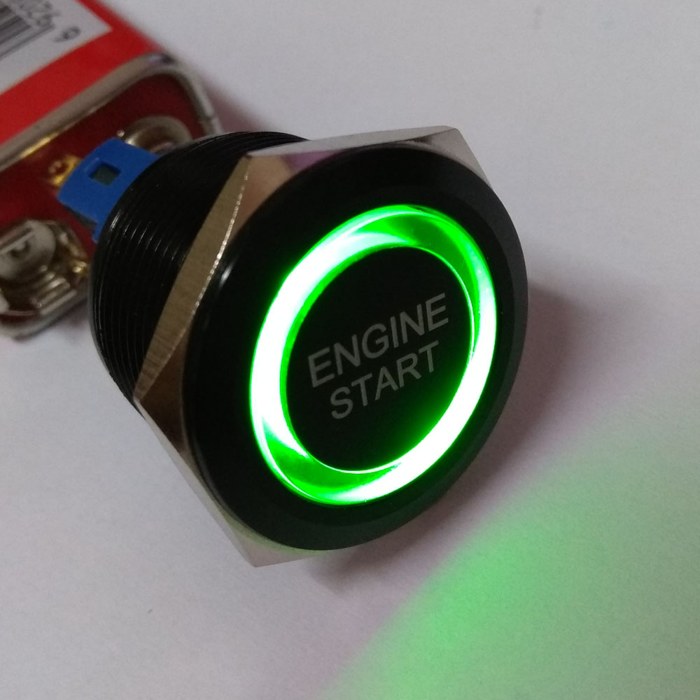 цена на 22mm 1NO1NC black momentary green ring illuminated pushbutton switch with ENGINE START laser symbol