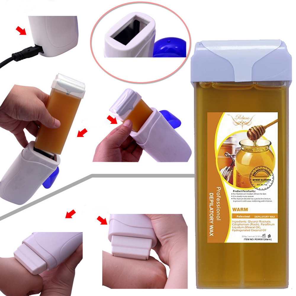 Roll On Hot Hair Removal Depilatory Wax Cartridge Heater Waxing Honey Flavor For Women And Men Hair Removal