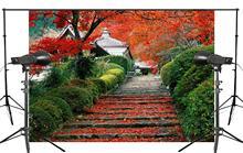 7x5ft Bela Escada Natureza Cenário Exuberante Verde Das Folhas de Bordo Plantas Foto Do Casamento Fundo do Estúdio de Fotografia