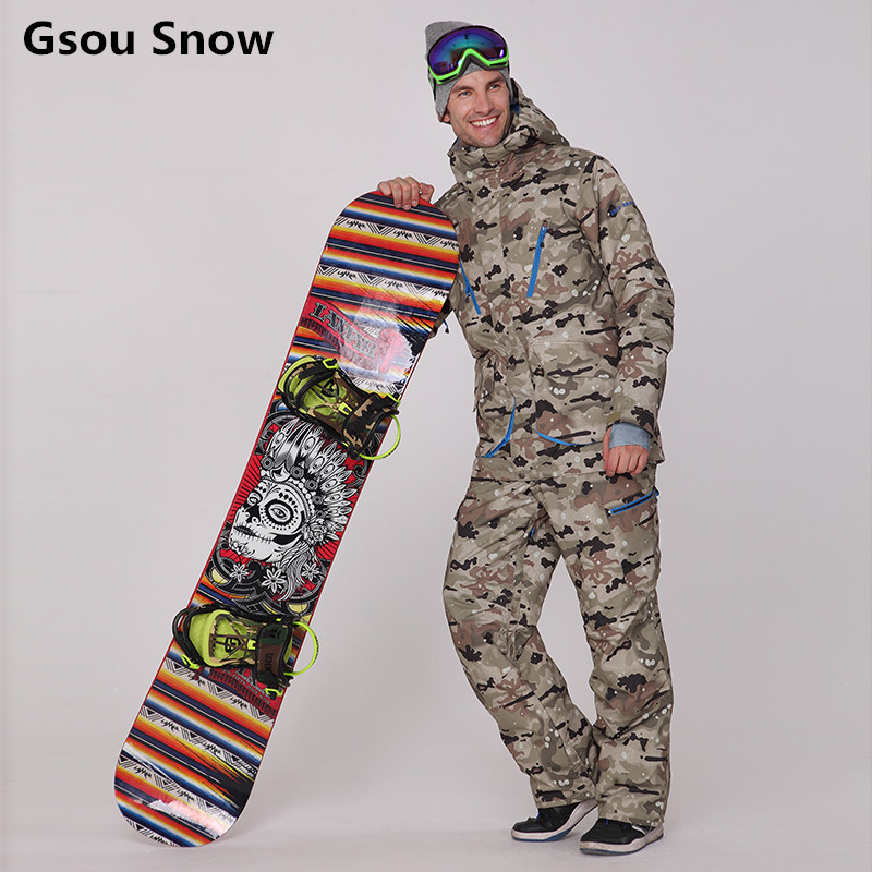 Gsou Snow Brand ski suits for men camouflage snowboard jackets pant winter mountain skiing veste wear