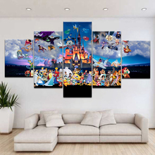 Canvas Painting Wall Art Anime Kids Room Home Decoration 5 Piece Cartoon Mickey Mouse Donald Duck Castle Poster Pictures