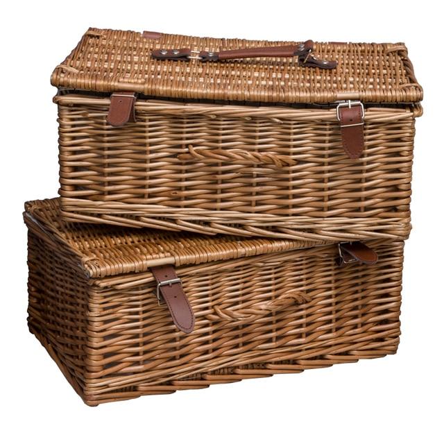 Rural Style Handmade Rattan Storage Tank Basket Storage Box Laundry Bin  Storage Debris Books Toys Storage