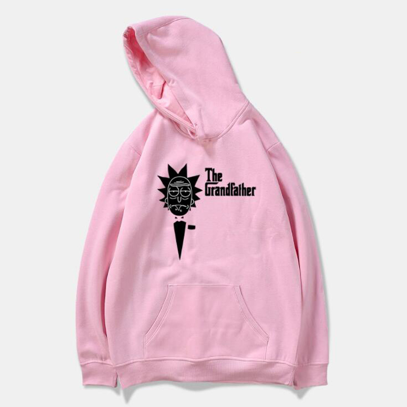 Anime Cartoon Rick and Morty Harajuku Sweatshirt Men Women Streetwear Hipster Funny Scientist Rick Pink Hoodie Tumblr Clothing
