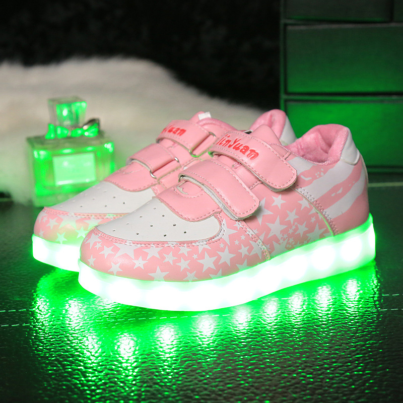 Flashing Children LED Kids Light Shoes For Boys Girls New Fashion Luminous Sneakers Chaussure Enfant Lumineuse shoes bright leather children led kids light shoes for boys girls new fashion luminous sneakers chaussure enfant lumineuse shoes