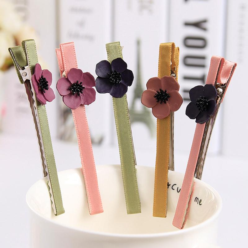 Fashion Beautiful Flower Well Made Hair Clips Barrettes Cloth Sticked Headwear Hair Accessories for Women