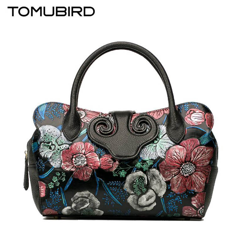 TOMUBIRD new superior cowhide leather rose Embossed genuine leather Luxury fashion women Leather Handbags Tote leather shoulder tomubird 2017 new superior cowhide leather painting genuine leather embossed women leather handbags tote leather shoulder bag