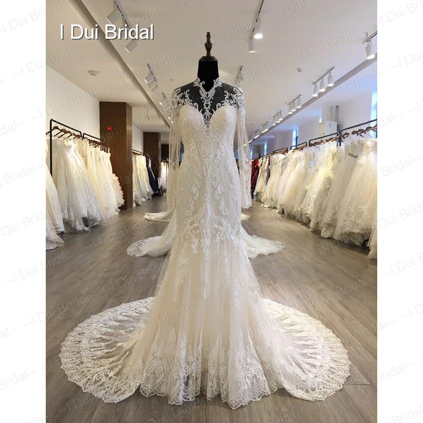 Wedding Gown Necklines: Full Sleeve Illusion Neckline Sheath Wedding Dress Keyhole