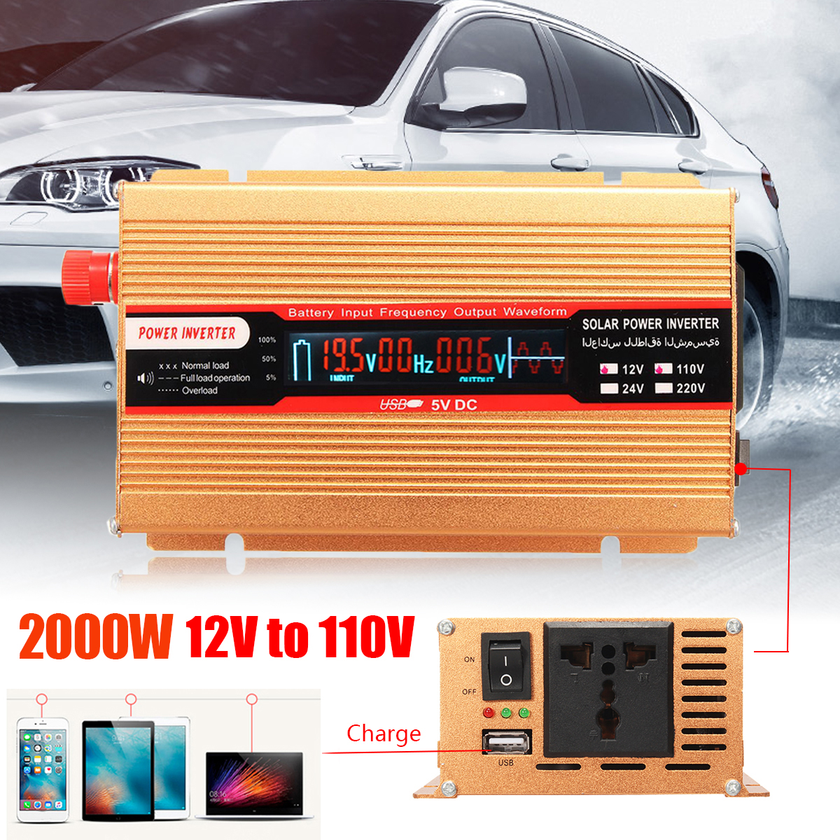 Пик 2000 Вт 12/24 В к AC 220/110 В автомобиля Мощность инвертор Напряжение трансформатор USB Модифицированная синусоида преобразователь для различны...