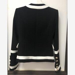 Image 2 - 高品質新ファッション 2020 デザイナーブレザージャケット女性クラシックブラックホワイト色ブロック金属ボタンブレザー