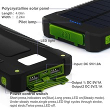 Waterproof 10000Mah Solar Power Bank Solar Charger Dual USB