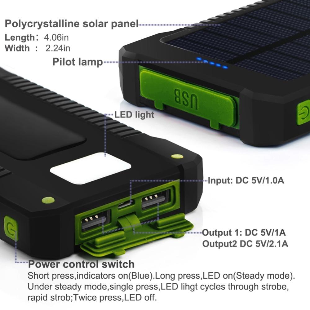 Resistente al agua 10000Mah Banco de energía solar Cargador solar - Accesorios y repuestos para celulares - foto 5