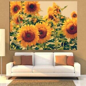 Ywdecoração clássico desin girassol moderna pintura da lona impressões digitais na lona poster arte da parede imagem sala de estar decoração casa