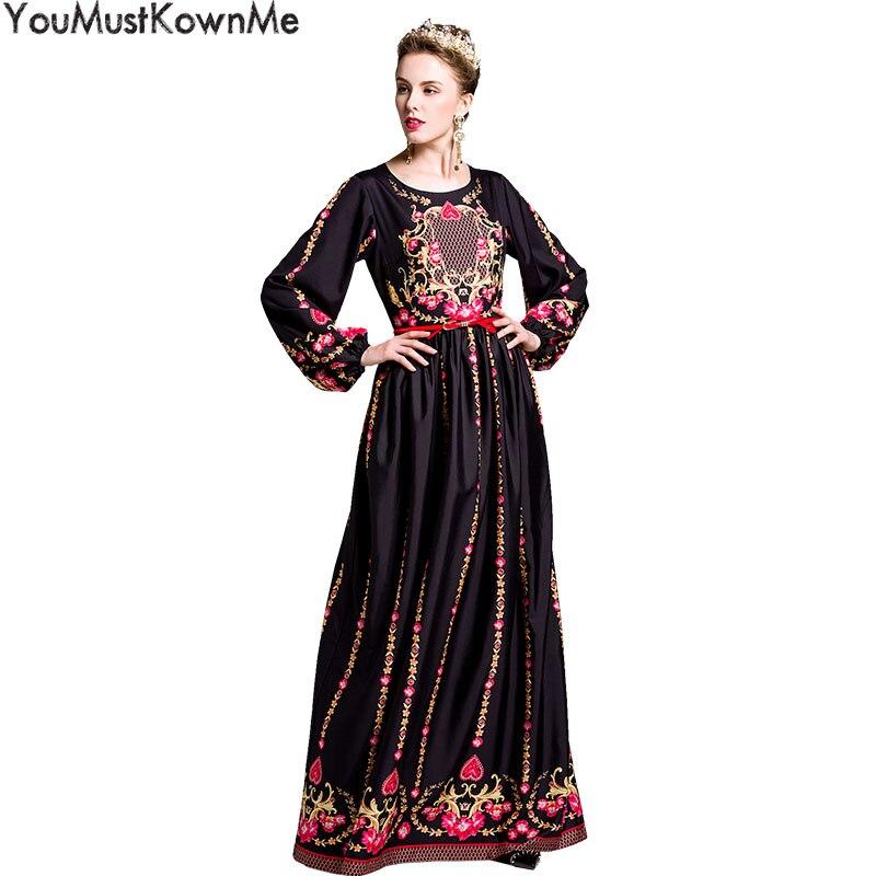 Здесь продается  YouMustKnowMe elegant long party dresses women long sleeve o-neck vintage floral print with red belt dress white maxi dresses  Одежда и аксессуары