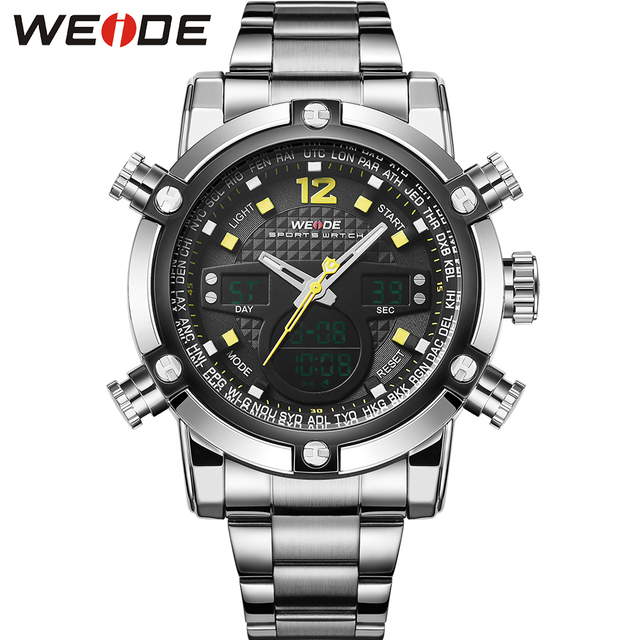 WEIDE Logo Famous Brand Watches Men Analog Digital Display Big Dial New Fashion Casual Sport Item Original Luxury Brand Watches