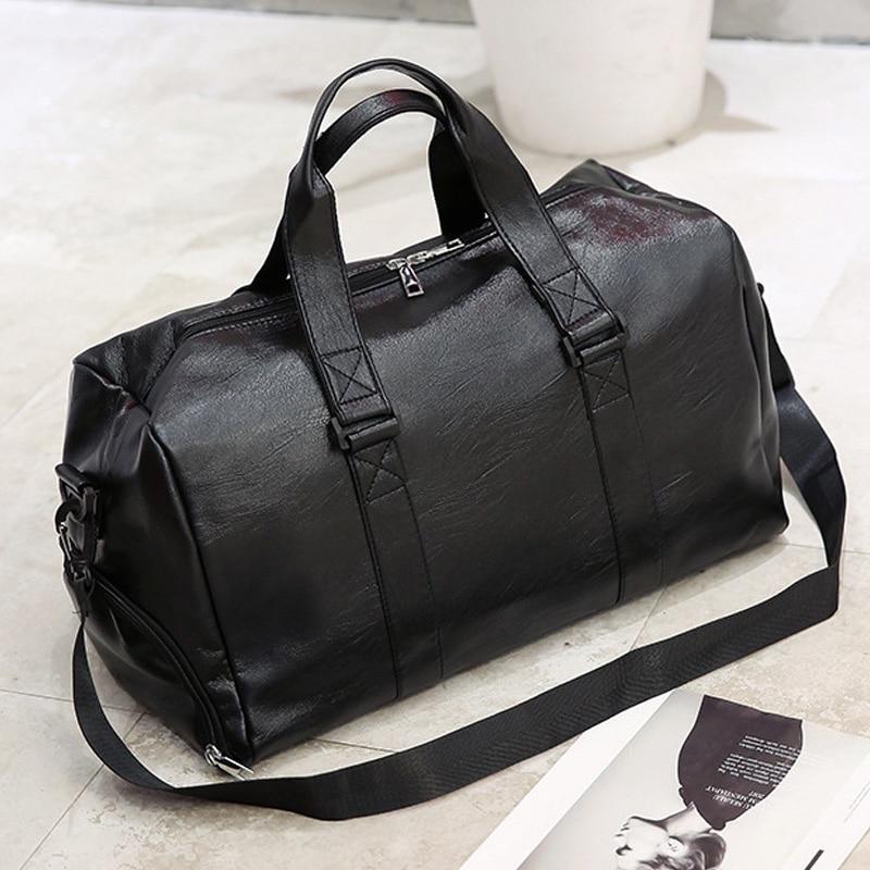 Large Capacity Men Handbag Black PU Leather Travel Totes Bags Male Luggage Bags Man Big Suitcase Shoulder Bag