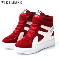 2019 Spring Autumn Women Shoes Suede Leather Platform Sneakers Wedges Shoes For Women Height Increasing Tenis Feminino Casual
