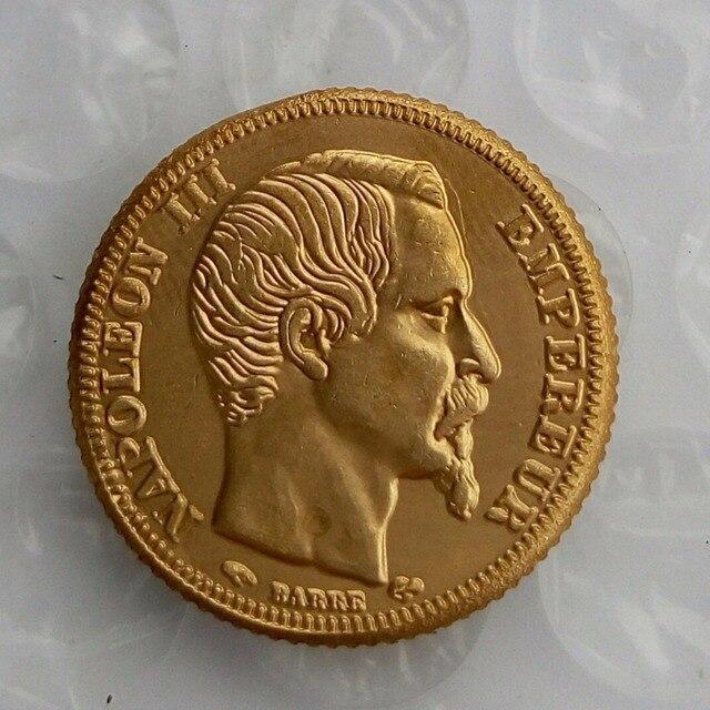 Frankreich 1855 D Aus Messing überzogene Gold Napoleon 20 Franken