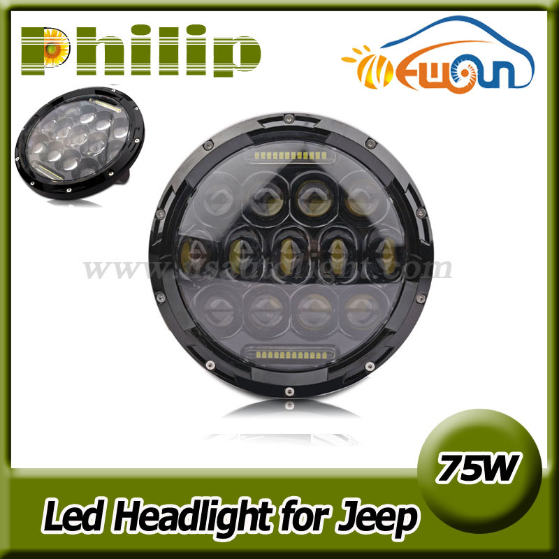 7inch 75w hi/ lo led car headlight drl 12v 24v driving light for jeep hummer camaro fj, round led wo