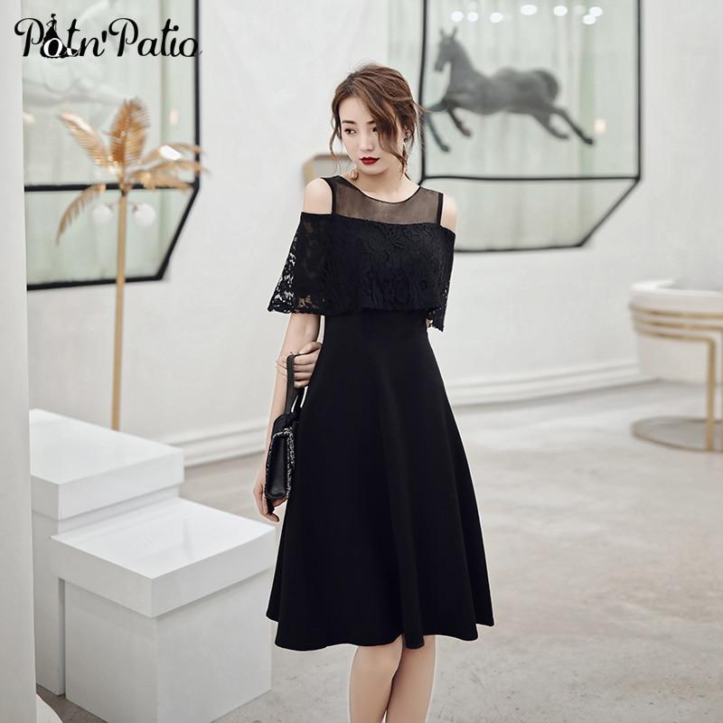 Elegant Black   Cocktail     Dress   Party 2019 Off The Shoulder Ruffles Short Prom Formal   Dresses   Plus Size