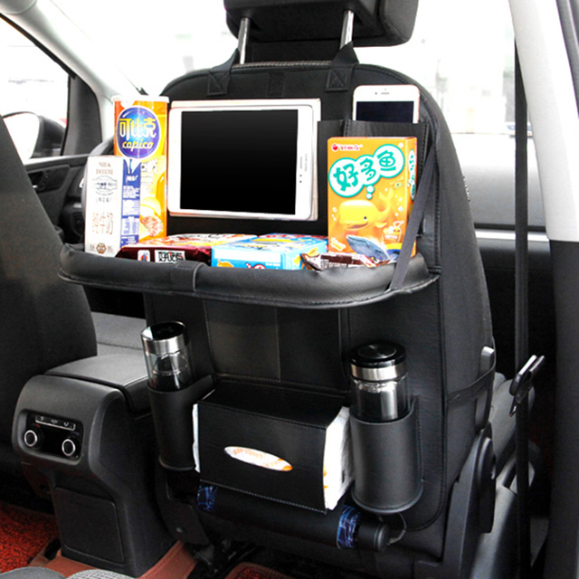 Car Seat Back Bag Folding Table Organizer Bags Pad Drink Chair Storage Pocket Box Travel Stowing Tidying Automobile Accessories