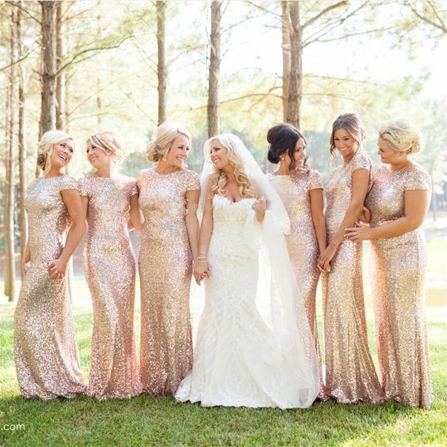 Gold Long Bridesmaid Dresses Sequined Short Sleeve Floor Length Dress 2016 Prom Gown Wedding