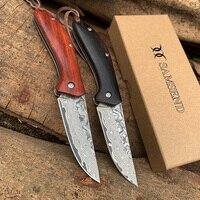 EDC Handgemachte Sandelholz VG10 Damaskus Tasche Messer Multifuntion Werkzeuge Jagd Folding Messer Damaskus Sammlung Camping Messer-in Messer aus Werkzeug bei