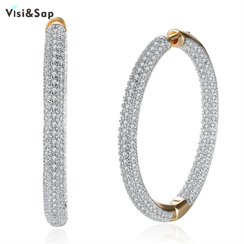Visisap Large O Shape Lady Hoop Earring Clear Stones Earrings For Women Lovers Gifts Jewellery Brincos Fashion Jewelry VKZCE126