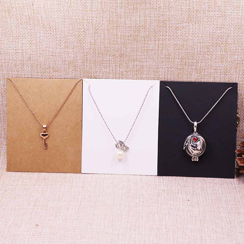 2018 New Hot White 10X8CM Kraft Pendant Card Necklace Card 1lot=100 Card +100 Opp Bag Blank Jewelry Card Custom Logo Cost Extra